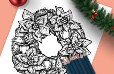 Christmas Wreath Drawing