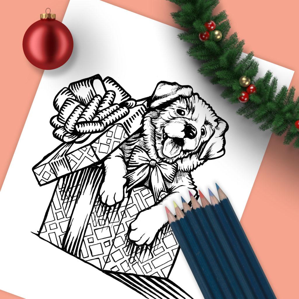 Christmas puppy drawing sean geyer