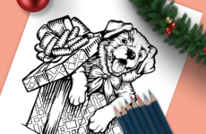 Christmas Puppy Drawing