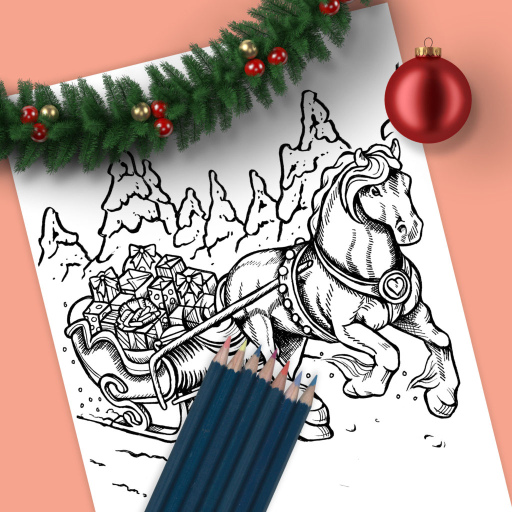 Christmas Horse Sleigh Drawing - Sean Geyer