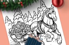 Christmas Horse Sleigh Drawing