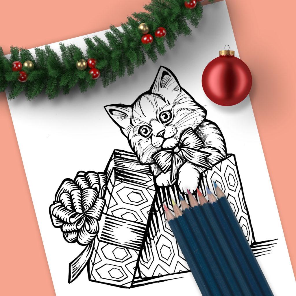 Christmas Kitten Drawing - Sean Geyer